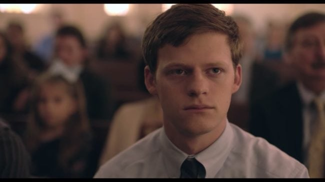 Lucas Hedges as Jared Eamons in Boy Erased, the second of 2018's gay films dealing with conversion therapy