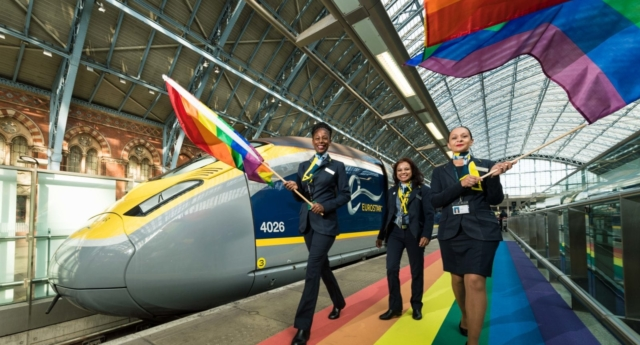 Eurostar team prepare to welcome travellers to London to celebrate Pride 2018 with a rainbow carpet on the platforms at St Pancras International. on July 4, 2018 in London, England.  (Ian Gavan/Getty Images for Eurostar)