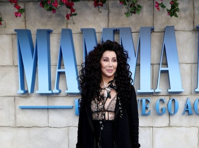 `Cher attends the UK Premiere of Mamma Mia! Here We Go Again at Eventim Apollo on July 16, 2018 in London, England. (John Phillips/Getty)