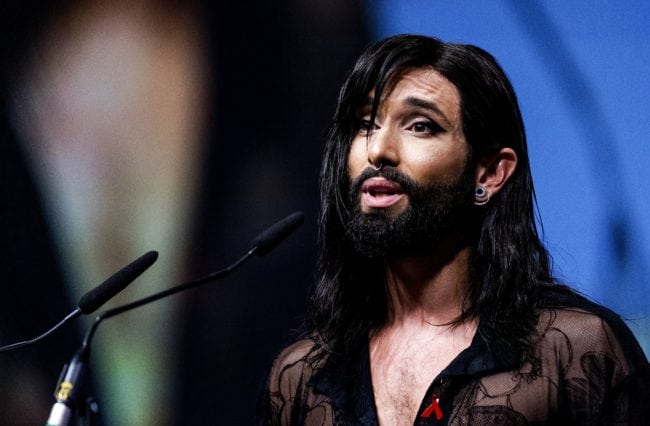 Eurovision Song Contest winner Conchita Wurst speaks at the official opening of AIDS2018, the 22nd international conference on AIDS in Amsterdam, on July 23, 2018. - During this international conference thousands of AIDS experts, activists, scientists, policy makers and politicians gather in Amsterdam to discuss AIDS. (Photo by Robin van Lonkhuijsen / ANP / AFP) / Netherlands OUT - Belgium OUT        (Photo credit should read ROBIN VAN LONKHUIJSEN/AFP/Getty Images)