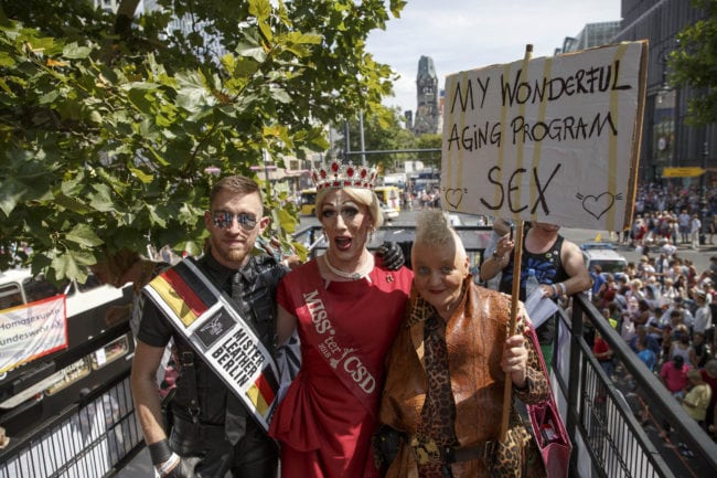 BERLIN, GERMANY - JULY 28: Participants gather for the 40th Christopher Street Day gay pride march on July 28, 2018 in Berlin, Germany. Known as CSD, the event attracts thousands of people every year. This parade takes place for the 40th time this year. (Photo by Carsten Koall/Getty Images)