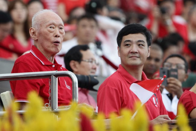 SINGAPORE - AUGUST 09:  Minister Mentor of Singapore, Lee Kuan Yew attends the National Day Parade at the Float at Marina Bay on August 9, 2014 in Singapore.  Singapore celebrates it's 49th birthday with a parade theme of 'Our People, Our Home'.  (Photo by Suhaimi Abdullah/Getty Images)