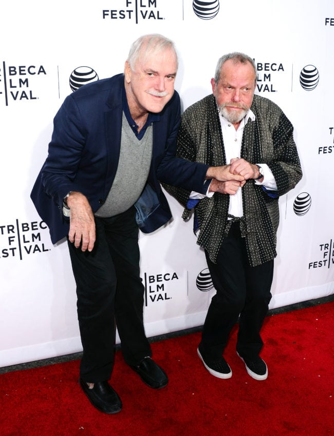 """NEW YORK, NY - APRIL 24: John Cleese (L) and Terry Gilliam attend the """"Monty Python And The Holy Grail"""" Special Screening during the 2015 Tribeca Film Festival at Beacon Theatre on April 24, 2015 in New York City.  (Photo by Stephen Lovekin/Getty Images for the 2015 Tribeca Film Festival)"""