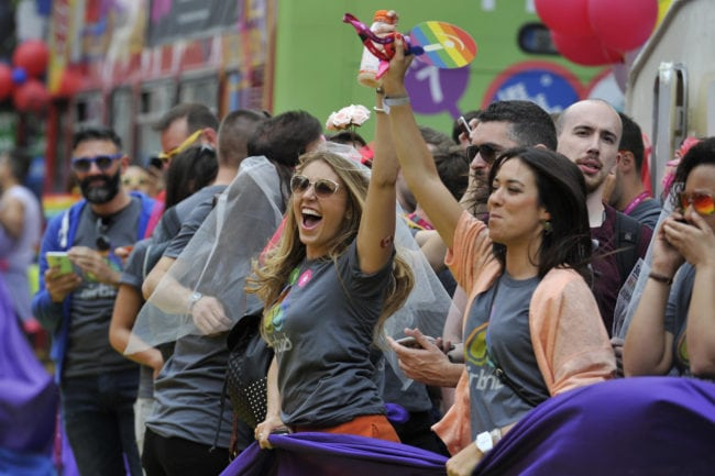 DUBLIN, IRELAND - JUNE 27:  People take part in the annual Gay Pride Parade on June 27, 2015 in Dublin, Ireland.  Gay marriage was declared legal across the US in a historic supreme court ruling. Same-sex marriages are now legal across the entirety of the United States. (Photo by Clodagh Kilcoyne/Getty Images)