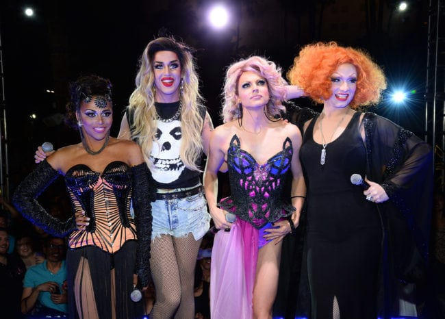 "LAS VEGAS, NV - MAY 19: (L-R) Former cast member of ""RuPaul's Drag Race"" and host Shangela Laquifa Wadley, season six cast members Adore Delano and Courtney Act and ""RuPaul's Drag Race"" season five winner Jinkx Monsoon attend a viewing party for the show's season six finale at the New Tropicana Las Vegas on May 19, 2014 in Las Vegas, Nevada. (Photo by Ethan Miller/Getty Images)"
