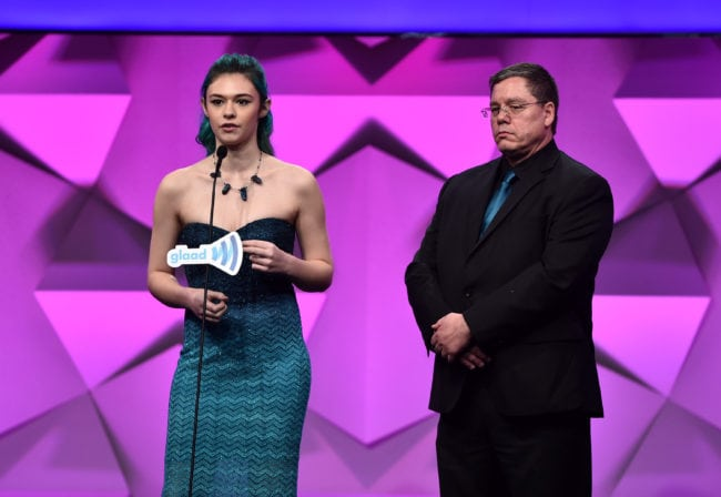 BEVERLY HILLS, CALIFORNIA - APRIL 02:  Nicole Maines (L) and Wayne Maines speak onstage during the 27th Annual GLAAD Media Awards at the Beverly Hilton Hotel on April 2, 2016 in Beverly Hills, California.  (Photo by Alberto E. Rodriguez/Getty Images for GLAAD)