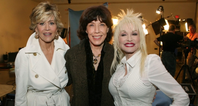 Jane Fonda, Lily Tomlin and Dolly Parton pose at the 9 to 5 (Kevin Winter/Getty)