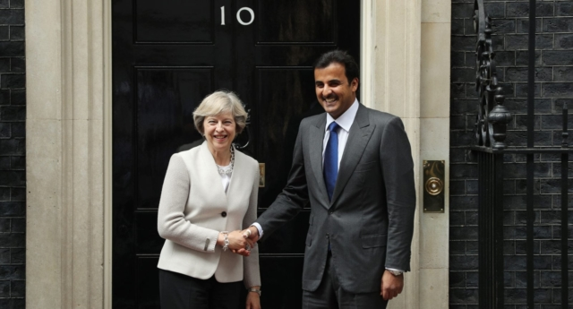 Prime Minister Theresa May greets His Highness Sheikh Tamim bin Hamad al Thani, The Emir of Qatar outside 10 Downing Street on September 15, 2016 in London, England (Photo by Dan Kitwood/Getty)