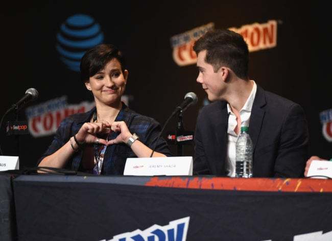 NEW YORK, NY - OCTOBER 07: Bex Taylor-Klaus and Jeremy Shada speak onstage at Voltron Legendary Defender Season 2 Sneak Peek at Jacob Javits Center on October 7, 2016 in New York City. (Photo by Nicholas Hunt/Getty Images)