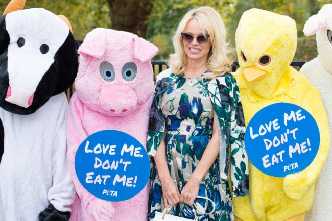 LONDON, ENGLAND - OCTOBER 26:  Pamela Anderson (2nd-R) joins PETA to promote vegan food at Marble Arch on October 26, 2016 in London, England.  (Photo by Jeff Spicer/Getty Images)
