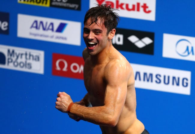 BUDAPEST, HUNGARY - JULY 22:  Tom Daley of Great Britain celebrates after he wins the gold medal during the Men's 10M Platform final on day nine of the Budapest 2017 FINA World Championships on July 22, 2017 in Budapest, Hungary.  (Photo by Clive Rose/Getty Images)