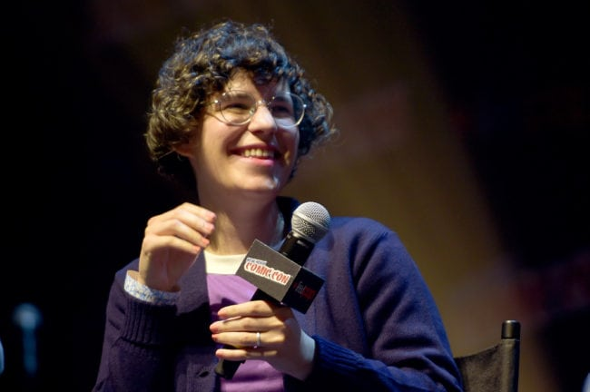 NEW YORK, NY - OCTOBER 04: Steven Universe creator, voice actor, and author Rebecca Sugar speaks onstage at the Steven Universe Panel during New York Comic Con 2017 - JK at Hammerstein Ballroom on October 4, 2017 in New York City. 27356_002 (Photo by Jason Kempin/Getty Images for Turner)