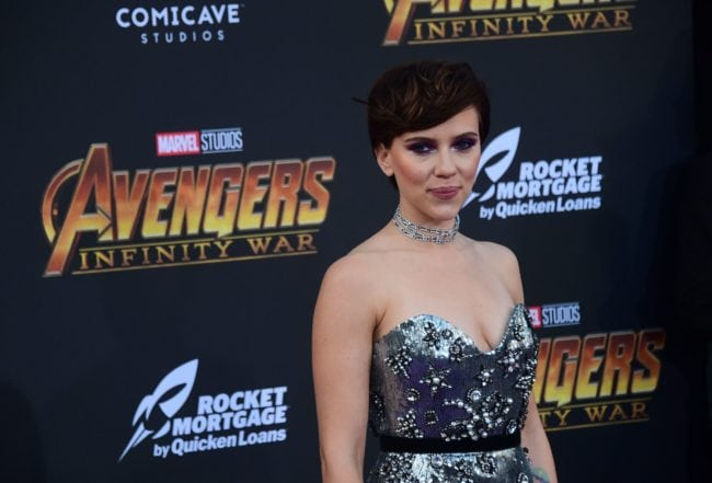 Actress Scarlett Johansson arrives or the World Premiere of the film 'Avengers: Infinity War' in Hollywood, California on April 23, 2018. (Photo by FREDERIC J. BROWN / AFP) (Photo credit should read FREDERIC J. BROWN/AFP/Getty Images)