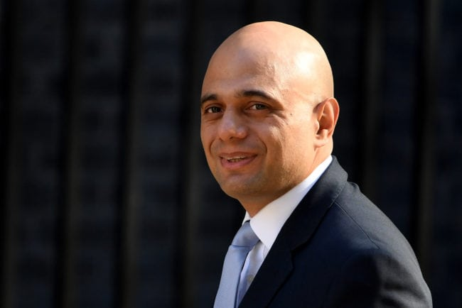 LONDON, ENGLAND - MAY 01: Newly appointed Home Secretary Sajid Javid attends the first cabinet meeting following the Re-Shuffle at Downing Street on May 1, 2018 in London, England. The Cabinet Re-Shuffle was triggered following the resignation of Home Secretary Amber Rudd, her successor has been named as Sajid Javid, the former Secretary of State for Housing, Communities and Local Government. (Photo by Chris J Ratcliffe/Getty Images)