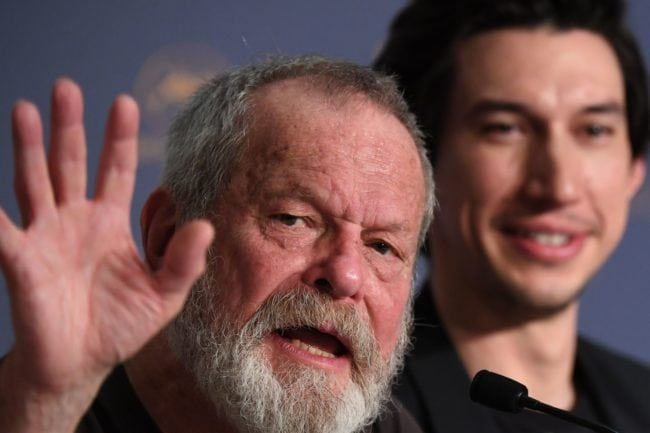 "British-US director Terry Gilliam (L) waves as US actor Adam Driver looks on during a press conference  on May 19, 2018 for the film ""The Man Who Killed Don Quixote"" at the 71st edition of the Cannes Film Festival in Cannes, southern France. (Photo by Laurent EMMANUEL / AFP)        (Photo credit should read LAURENT EMMANUEL/AFP/Getty Images)"