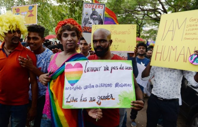 LGBT+ rights campaigners at a Pride parade in Chennai
