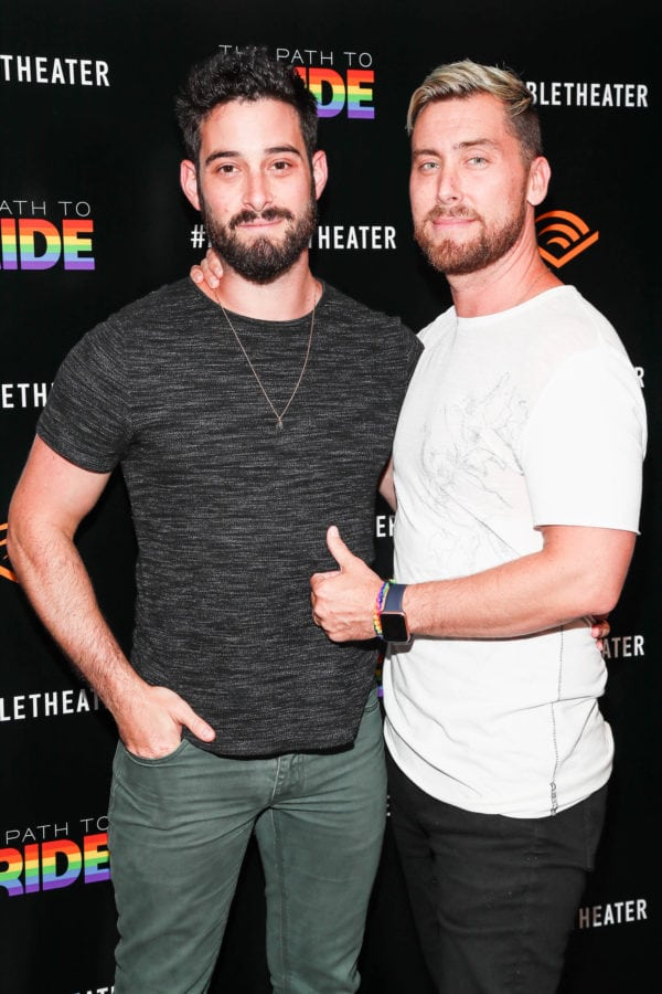 """NEW YORK, NY - JUNE 25:  Michael Turchin and Lance Bass attend a performance of the Audible original, """"The Path To Pride"""" at the Minetta Lane Theatre on June 25, 2018 in New York City."""