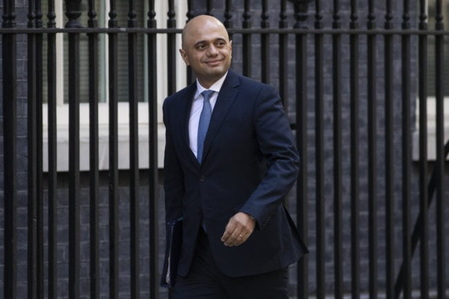 LONDON, ENGLAND - JULY 03: Home Secretary Sajid Javid arrives at Downing Street ahead of the weekly cabinet meeting on July 3, 2018 in London, England. (Photo by Dan Kitwood/Getty Images)