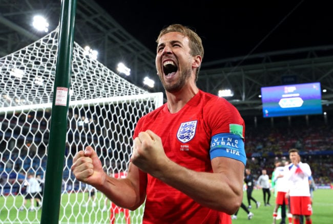MOSCOW, RUSSIA - JULY 03:  Harry Kane of England celebrates victory following the 2018 FIFA World Cup Russia Round of 16 match between Colombia and England at Spartak Stadium on July 3, 2018 in Moscow, Russia.  (Photo by Ryan Pierse/Getty Images)