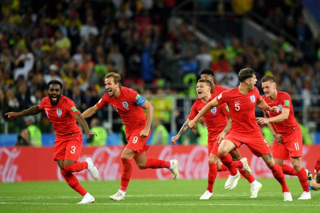 MOSCOW, RUSSIA - JULY 03:  England players (l-r Danny Rose, Harry Kane, Kieran Trippier, Jamie Vardy) celebrate after Eric Dier of England scores the winning penalty during the 2018 FIFA World Cup Russia Round of 16 match between Colombia and England at Spartak Stadium on July 3, 2018 in Moscow, Russia.  (Photo by Matthias Hangst/Getty Images)