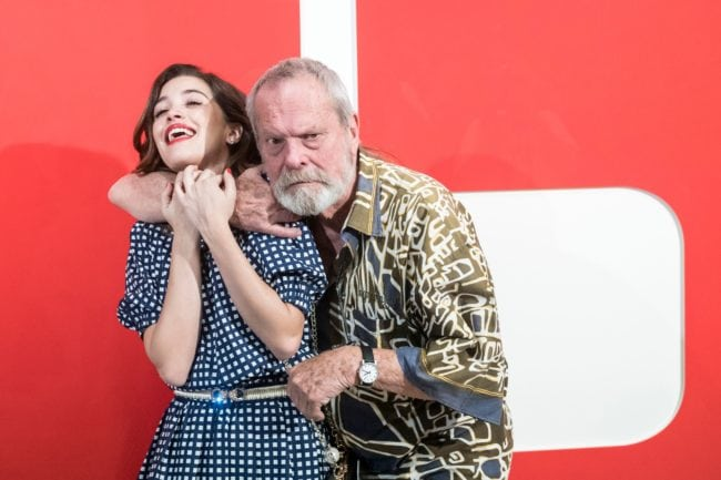 British film director Terry Gilliam and Portuguese actress Joana Ribeiro pose during a photocall before a screening of their film ''The man who killed Don Quixote'' at the 53rd Karlovy Vary International Film Festival (KVIFF) in  on July 04, 2018 Karlovy Vary, Czech Republic. (Photo by Michal CIZEK / AFP)        (Photo credit should read MICHAL CIZEK/AFP/Getty Images)