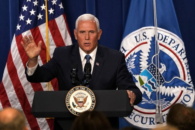 US Vice President Mike Pence speaks during a visit to the US Immigration and Customs Enforcement (ICE) agency headquarters on July 6, 2018 in Washington, DC (Photo by Alex Wong/Getty Images)