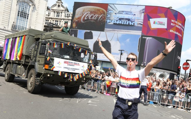 LONDON, ENGLAND - JULY 07:  Members of the Armed Forces march along Regents Street during Pride In London on July 7, 2018 in London, England. It is estimated over 1 million people will take to the streets and approximately 30,000 people and 472 organisations will join the annual parade, which is one of the world's biggest LGBT+ celebrations.
