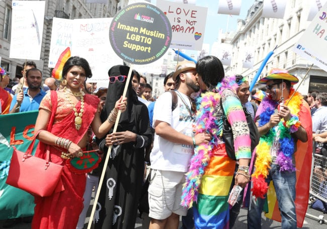 LONDON, ENGLAND - JULY 07:  Parade goers during Pride In London on July 7, 2018 in London, England. It is estimated over 1 million people will take to the streets and approximately 30,000 people and 472 organisations will join the annual parade, which is one of the world's biggest LGBT+ celebrations.