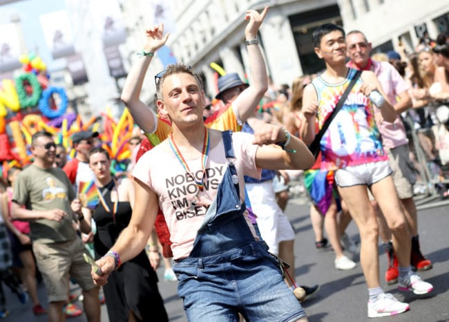LONDON, ENGLAND - JULY 07: Parade goers in Trafalgar Square during Pride In London on July 7, 2018 in London, England. It is estimated over 1 million people will take to the streets and approximately 30,000 people and 472 organisations will join the annual parade, which is one of the world's biggest LGBT+ celebrations.
