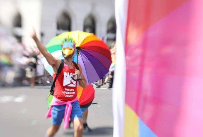 LONDON, ENGLAND - JULY 07:  (EDITORS NOTE: Image was created with a lens baby.) A parade goer during Pride In London on July 7, 2018 in London, England. It is estimated over 1 million people will take to the streets and approximately 30,000 people and 472 organisations will join the annual parade, which is one of the world's biggest LGBT+ celebrations.