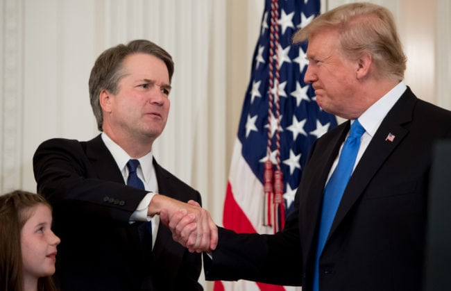 US President Donald Trump congratulates his Supreme Court nominee Brett Kavanaugh