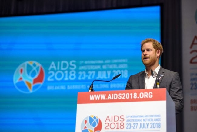 Prince Harry speaks at the the International AIDS Conference in Amsterdam