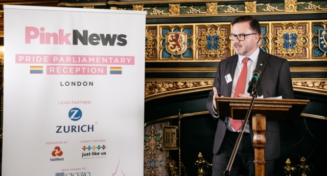 Zurich's head of HR Steve Collinson speaks at the PinkNews summer reception in Westminster on July 4, 2018 (Photo by Paul Grace for PinkNews)