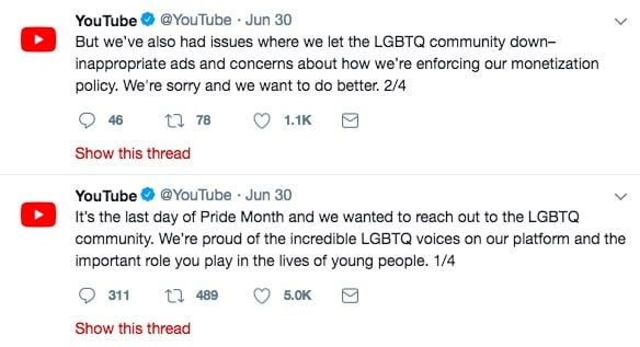 YouTube says sorry for 'homophobic' adverts reportedly