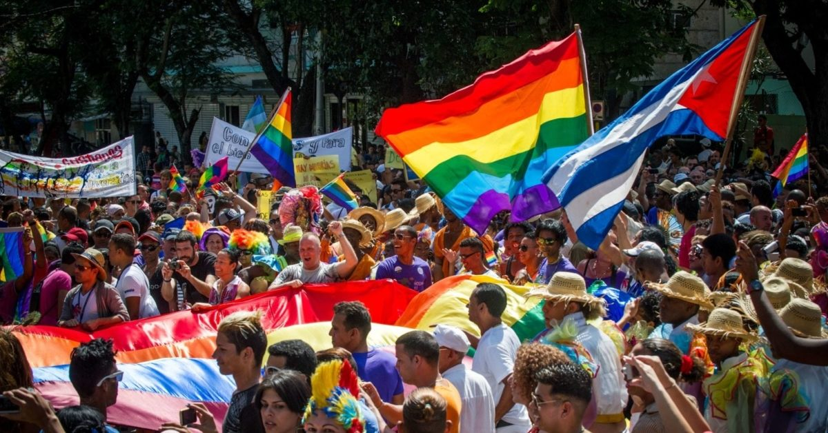 Cubans members of the gay and lesbian community participate in a march against homophobia on May 10, 2014 in Havana. (Photo by Yamil Lage/AFP/Getty)