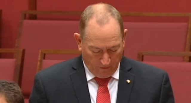 Fraser Anning calls for a ban on Muslim migrants in maiden speech