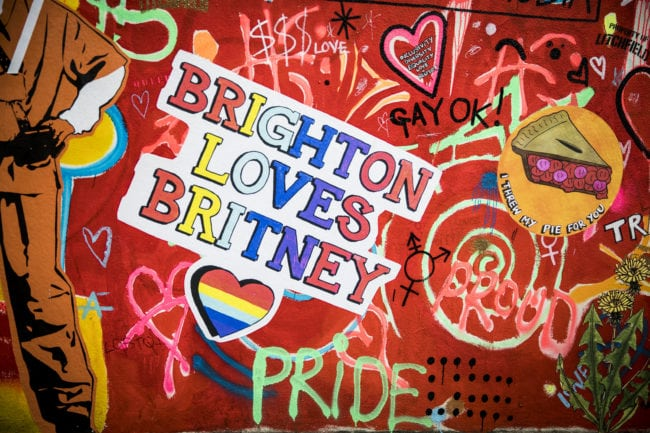 BRIGHTON, ENGLAND - AUGUST 04: Brighton Pride graffiti on a wall during Brighton Pride 2018 on August 4, 2018 in Brighton, England. (Photo by Tristan Fewings/Getty Images)