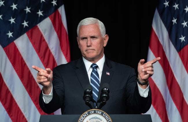 TOPSHOT - US Vice President Mike Pence speaks about the creation of a new branch of the military, Space Force, at the Pentagon in Washington, DC, on August 9, 2018. (Photo by SAUL LOEB / AFP) (Photo credit should read SAUL LOEB/AFP/Getty Images)