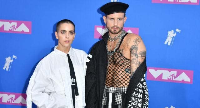 Bethany Meyers (left) and her partner Nico Tortorella, who she married in March. (ANGELA WEISS/AFP/Getty Images)