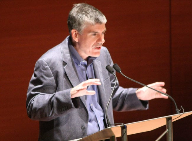 NEW YORK, NY - MAY 25:  Author Rick Riordan speaks at Alice Tully Hall, Lincoln Center on May 25, 2011 in New York City.  (Photo by Janette Pellegrini/Getty Images for Disney Publishing)