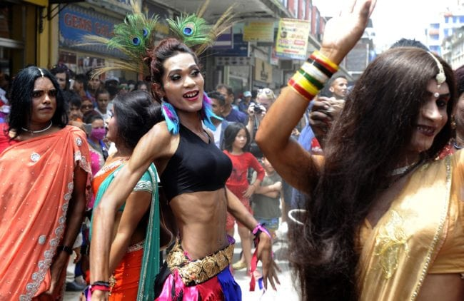 Participant take part in Nepal's Gay Pride parade in Kathmandu on August 19, 2016 Scores of gays, lesbians, transvestites and transsexuals from across the country took part in the rally to spread their campaign for sexual rights in the country. / AFP / PRAKASH MATHEMA (Photo credit should read PRAKASH MATHEMA/AFP/Getty Images)