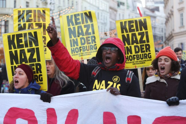 "VIENNA, AUSTRIA - DECEMBER 03: Demonstrators participate in what organizers call the first ""F*ck Hofer"" protest march through the city center to voice their opposition to Austrian right-wing populist presidential candidate Norbert Hofer on December 3, 2016 in Vienna, Austria. Voters in Austria are scheduled to take to the polls tomorrow to choose between Hofer and independent, social-liberal candidate Alexander van der Bellen as Austria's next president. Hofer, the candidate of the right-wing Austria Freedom Party (FPOe), has run on a nationalist campaign that has included attacks against Islam, Muslim immigrants and refugees. At least two leading members of his party have had passed association with neo-Nazi groups. (Photo by Alex Domanski/Getty Images)"
