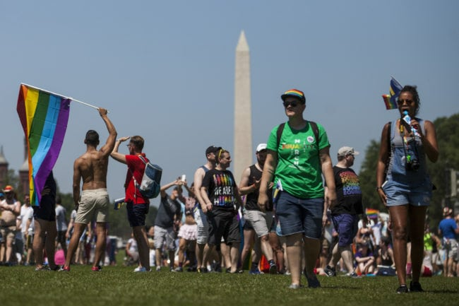 WASHINGTON, DC - JUNE 11:  Demonstrators gather on the National Mall during the Equality March for Unity and Peace on June 11, 2017 in Washington, D.C. Thousands around the country participated in marches for the LGBTQ communities, the central march taking place in Washington.  (Photo by Zach Gibson/Getty Images)