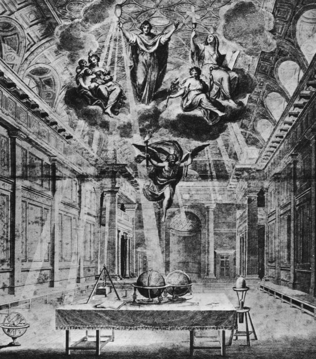 The figure of Truth, attended by Faith, Hope and Charity 'commissioning the genius of masonry to illuminate the craft' in the building of Thomas Sandby's new Freemasons' Hall in London, 1784. The hall is the headquarters of the United Grand Lodge of England. (Photo by Hulton Archive/Getty Images)