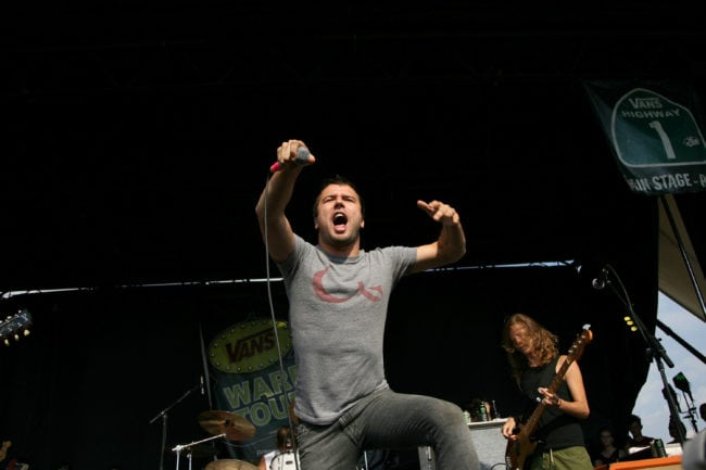CAMDEN, NJ - JULY 25:  Singer Max Bemis of Say Anything performs at the Vans Warped Tour on July 25, 2008 in Camden, New Jersey.  (Photo by Bryan Bedder/Getty Images)