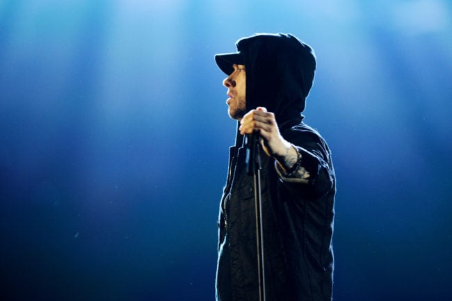 Eminem performs on stage during the MTV EMAs 2017 (Dave J Hogan/Getty for MTV)