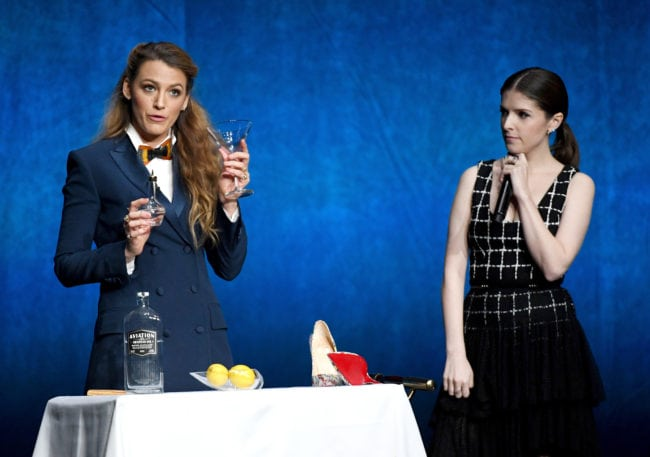 LAS VEGAS, NV - APRIL 26:  Actors Blake Lively (L) and Anna Kendrick speak onstage during CinemaCon 2018 Lionsgate Invites You to An Exclusive Presentation Highlighting Its 2018 Summer and Beyond at The Colosseum at Caesars Palace during CinemaCon, the official convention of the National Association of Theatre Owners, on April 26, 2018 in Las Vegas, Nevada.  (Photo by Ethan Miller/Getty Images for CinemaCon)