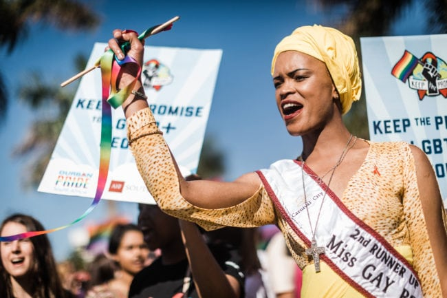 Members of the South African Lesbian, Gay, Bisexual and Transgender and Intersex (LGBTI) community chant slogans as they take part in the annual Gay Pride Parade, as part of the three-day Durban Pride Festival, on June 30, 2018 in Durban. (Photo by RAJESH JANTILAL / AFP) (Photo credit should read RAJESH JANTILAL/AFP/Getty Images)