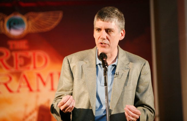 NEW YORK - MAY 03:  Author Rick Riordan speaks at the launch party of Rick Riordan's The Kane Chronicles, Book 1: The Red  Pyramid at Brooklyn Museum on May 3, 2010 in the Brooklyn borough of New York City.  (Photo by Amy Sussman/Getty Images for Disney)