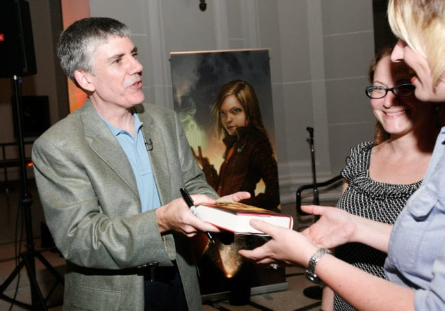 NEW YORK - MAY 03:  Author Rick Riordan talks to guests at the launch party of Rick Riordan's The Kane Chronicles, Book 1: The Red  Pyramid at Brooklyn Museum on May 3, 2010 in the Brooklyn borough of New York City.  (Photo by Amy Sussman/Getty Images for Disney)